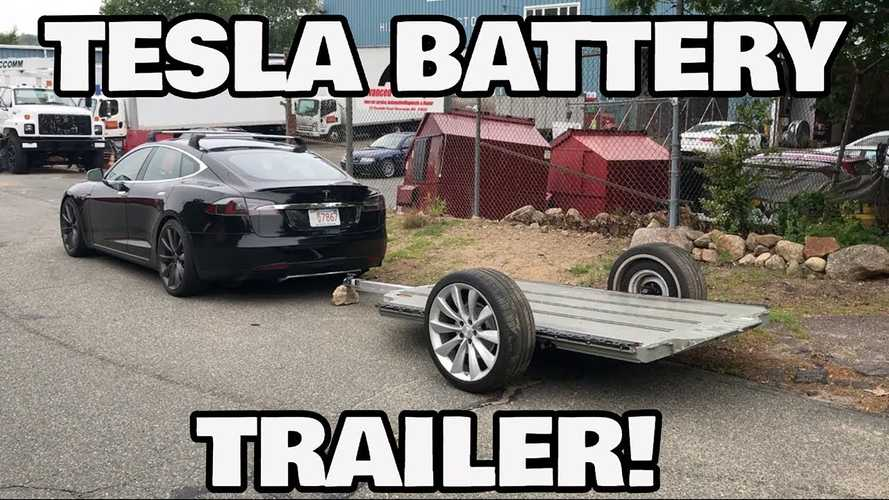 Check Out This Tesla Battery Converted To A Trailer