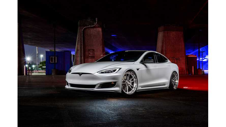 Pearl White Tesla Model S Pops In Striking Photoshoot