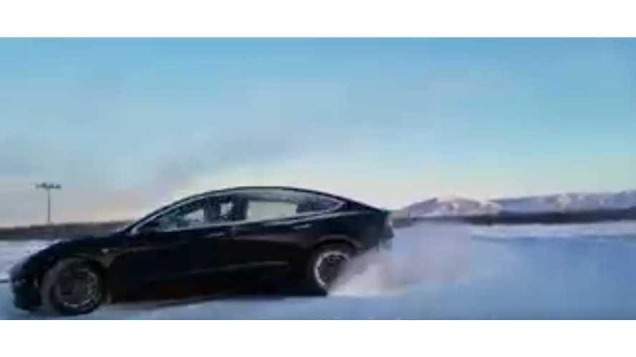 Watch Tesla Model 3 Performance Slide On Snow In Alaska