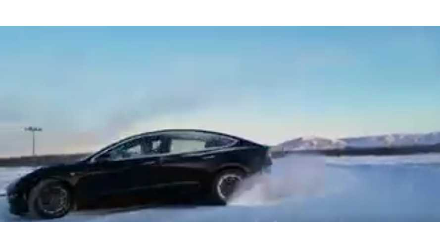 Watch Tesla Model 3 Performance Slide On Snow In Alaska