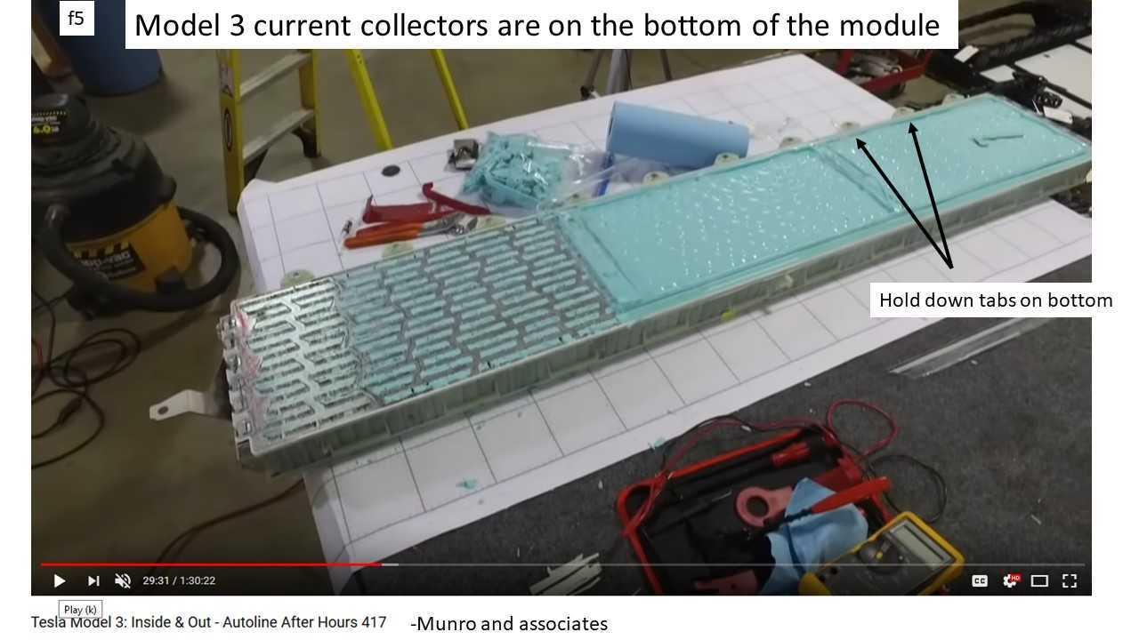 Tesla Model 3 Battery Current Collector: Radically Different Design