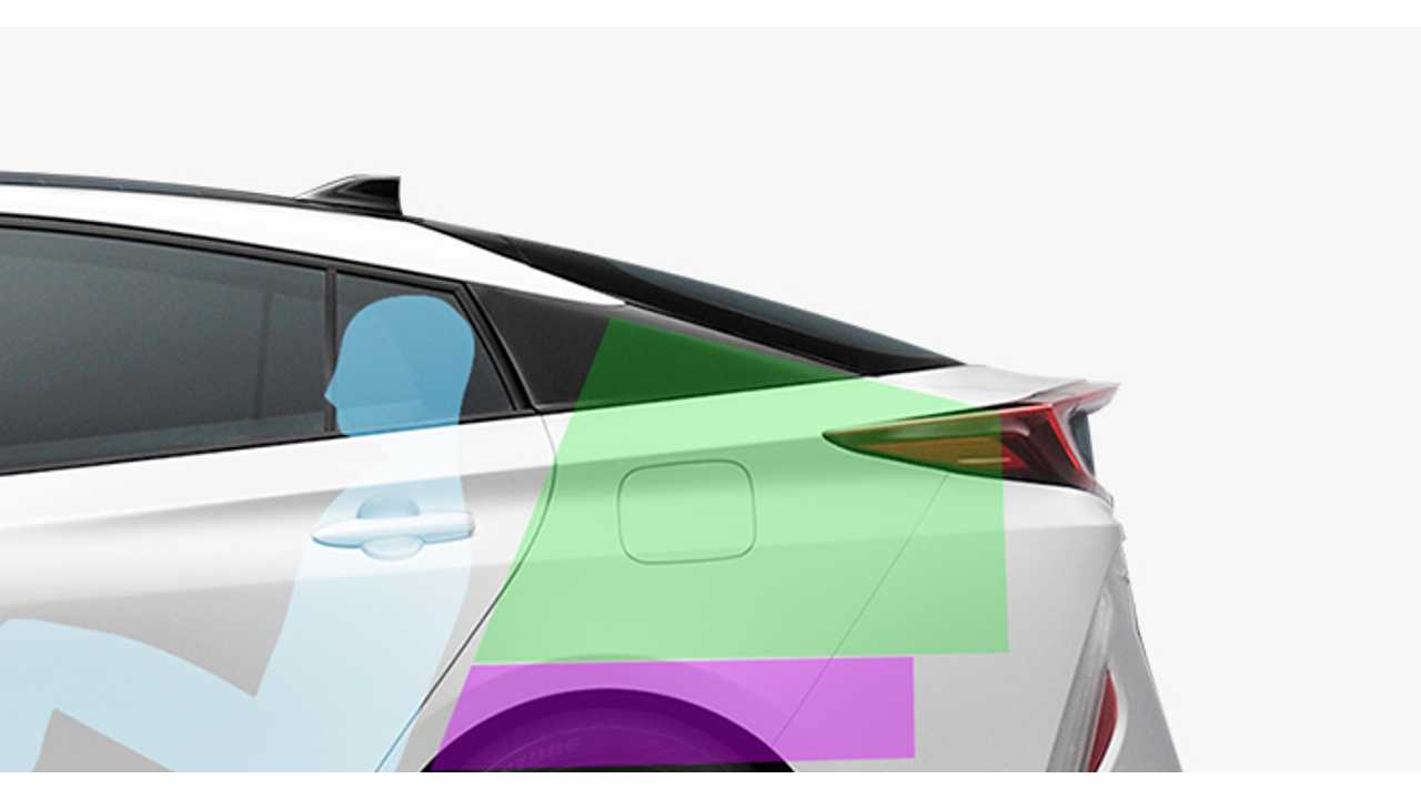 2017 Toyora Prius Prime Battery Location (Purple) And Rear Cargo Capacity (Green)