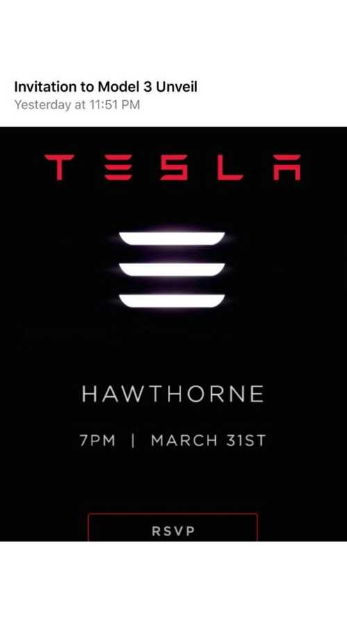 There Will Be A Drivable Tesla Model 3 At March 31 Unveiling