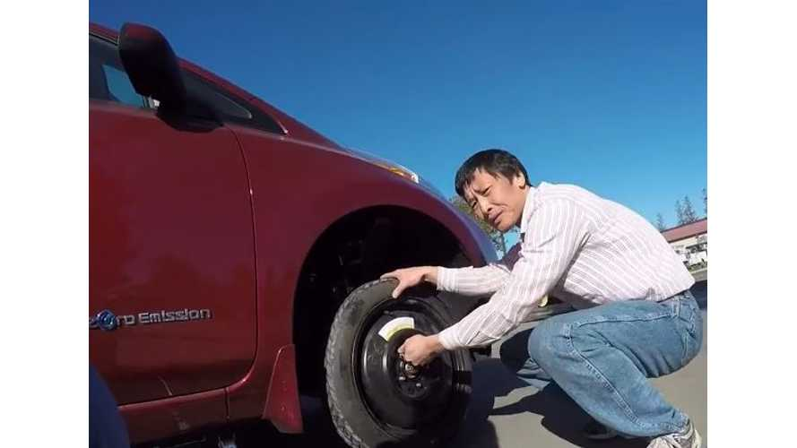 Flat Tire Moment In A Nissan LEAF - Video