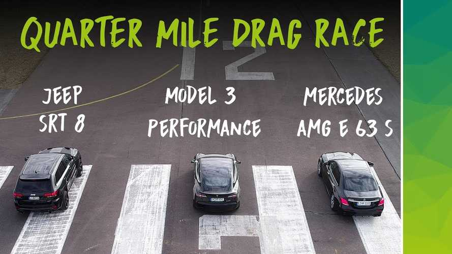 Watch Tesla Model 3 Race Mercedes AMG E63, Grand Cherokee SRT8: Video