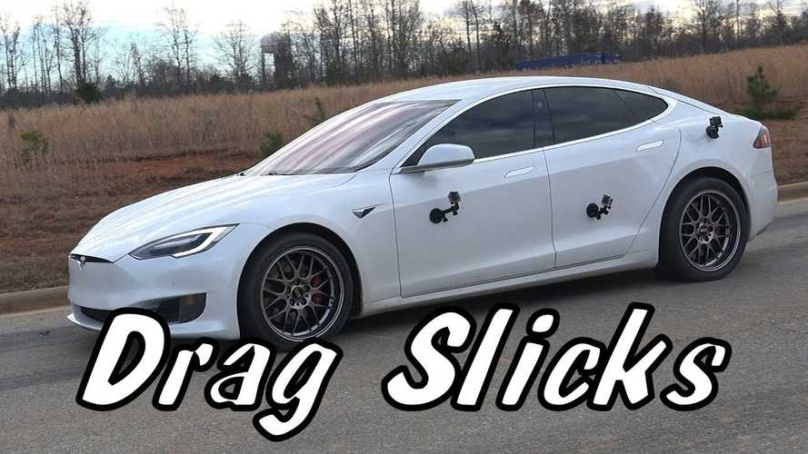 Watch Tesla Model S P100D Accelerate With Drag Radials On The Street