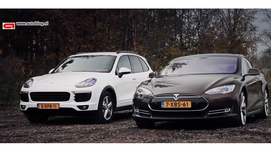 Porsche Cayenne S E-Hybrid Versus Tesla Model S - Video