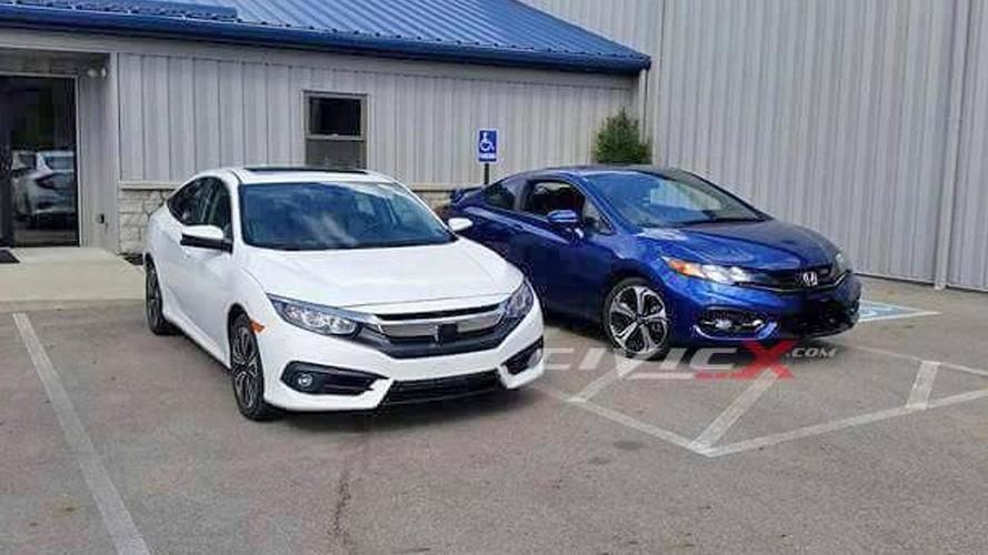 2016 Honda Civic Sedan photographed alongside outgoing coupe model