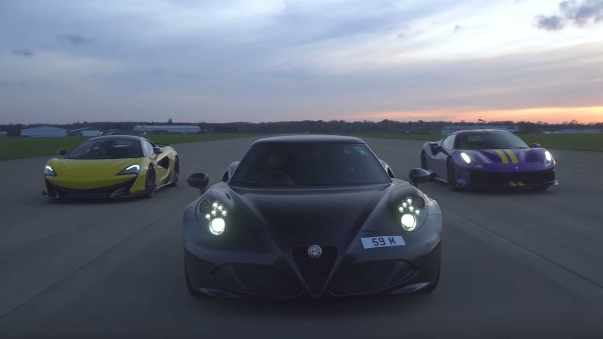 See the Alfa Romeo 4C drag race Ferrari Pista and McLaren 600LT