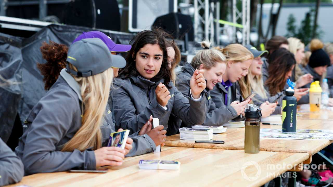 Jamie Chadwick at the W Series drivers autograph session at Brands Hatch UK 2019