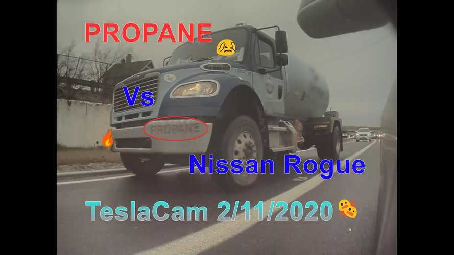 TeslaCam Captures Collision Between Nissan Rogue And Propane Truck