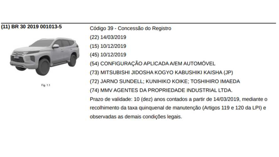 Mitsubishi Pajero Sport 2020 - Registro no INPI