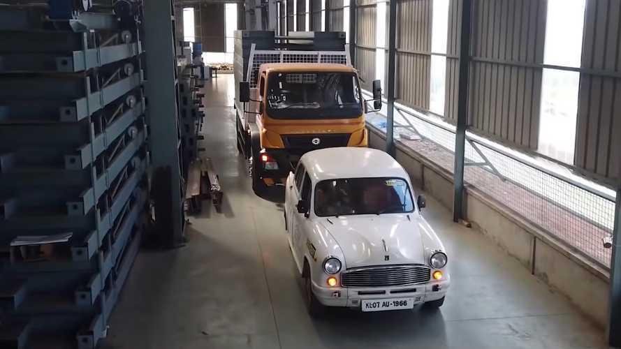 Watch Hindustan Ambassador EV Conversion Pull A Truck