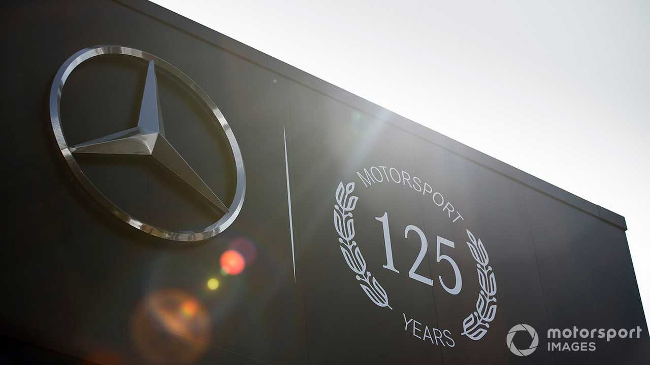 Mercedes AMG F1 125 years in motorsport logo on their motorhome at German GP 2019