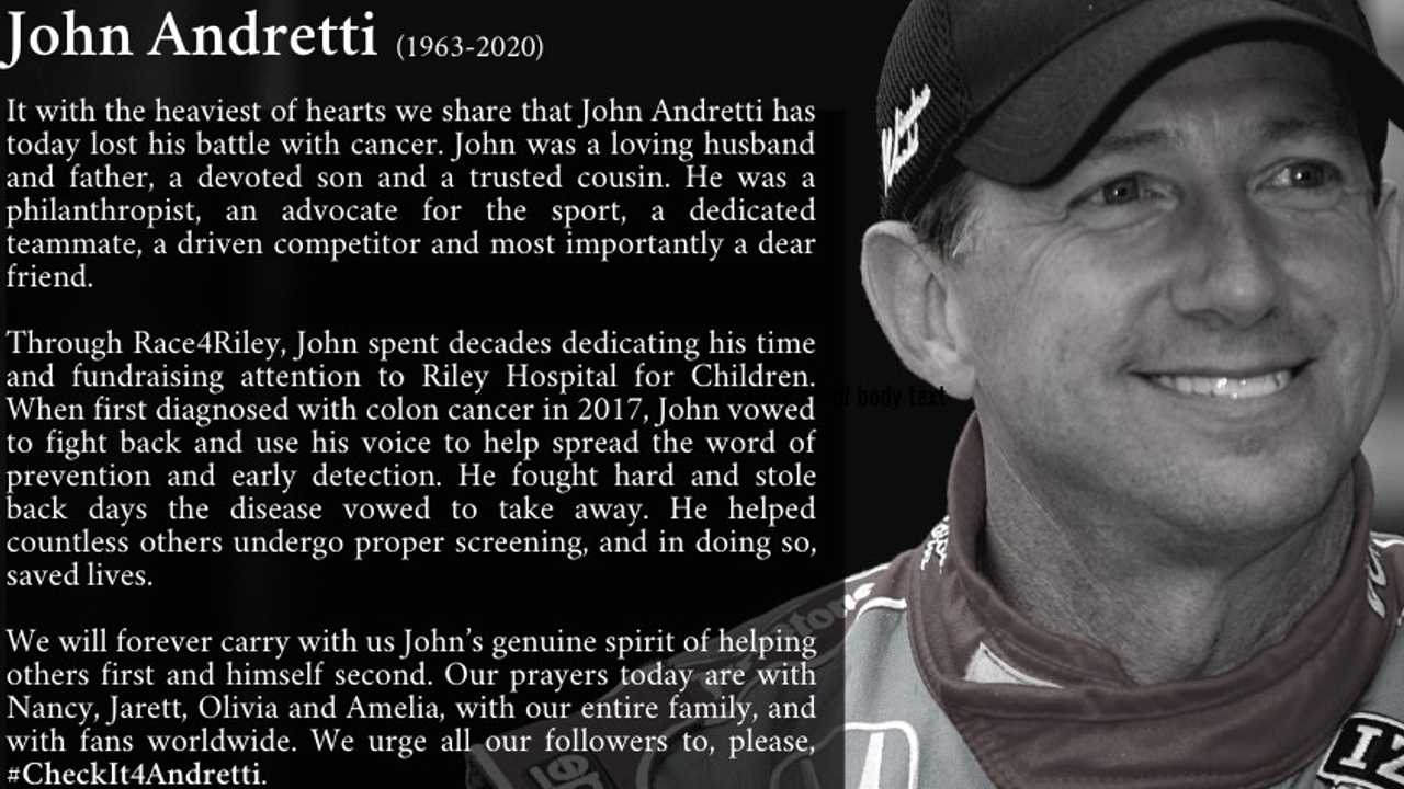 NASCAR, IndyCar Driver John Andretti Dies After Three-Year Cancer Battle