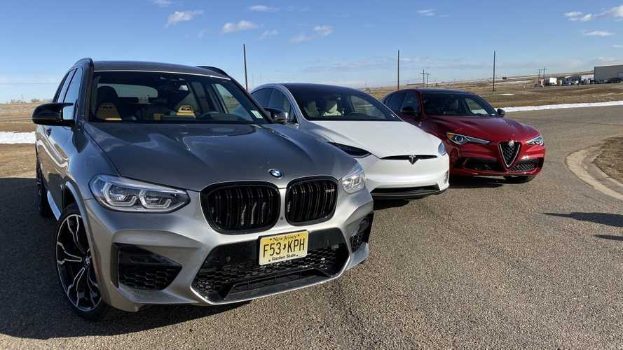 X3 M Competition, Stelvio Quadrifoglio, Model X duel in drag races