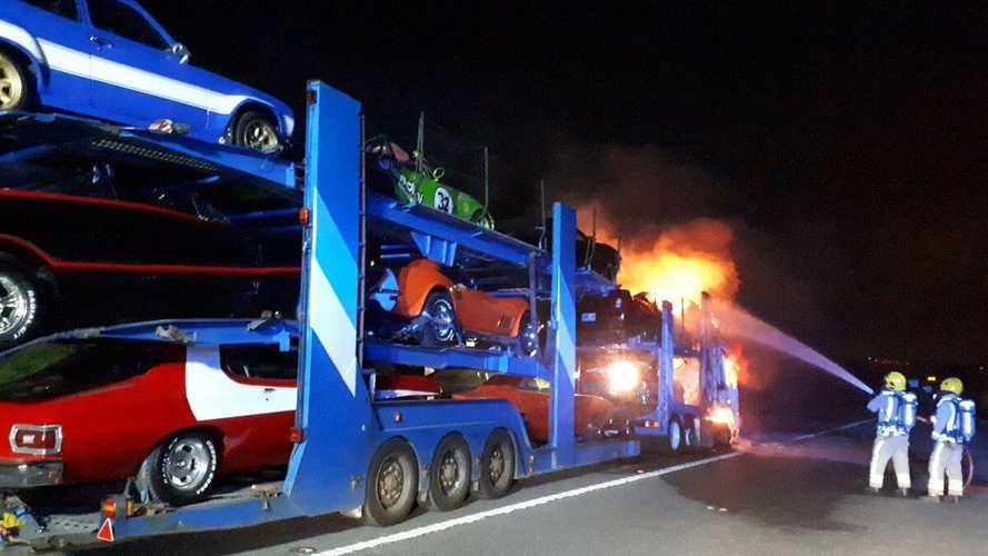 Narrow escape for movie cars after dramatic lorry fire