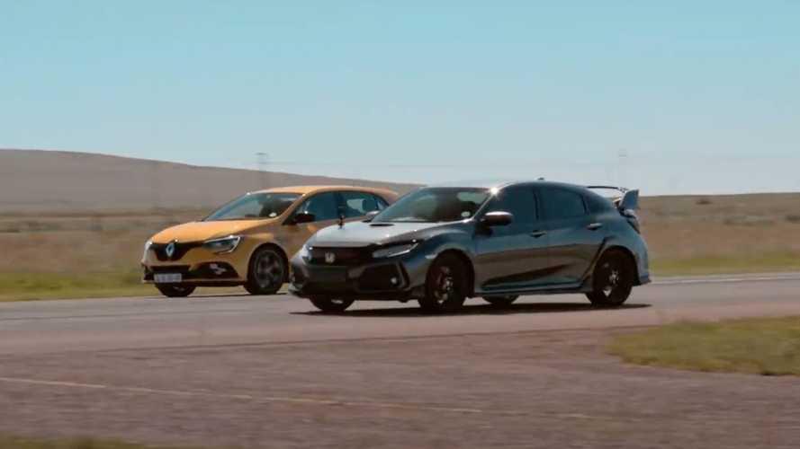 A Honda Civic Type R és a Renault Megane RS Trophy pehelysúlyú címmérkőzése videón