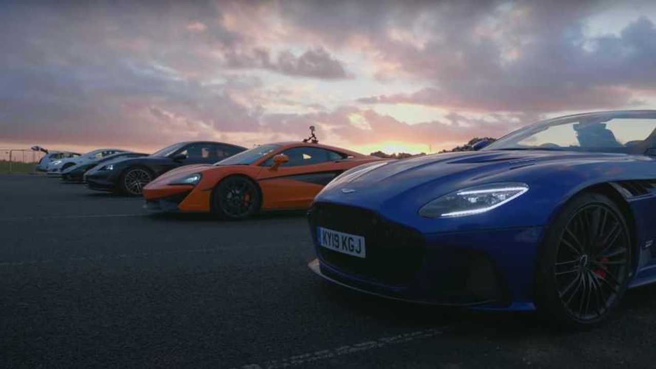McLaren Aston Martin Lamborghini Porsche Tesla Drag Race