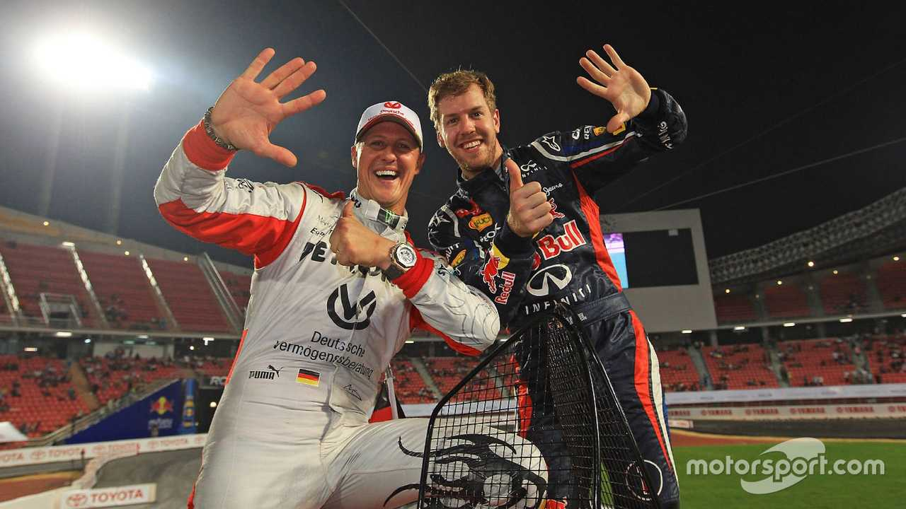Sebastian Vettel and Michael Schumacher at Race of Champions 2012