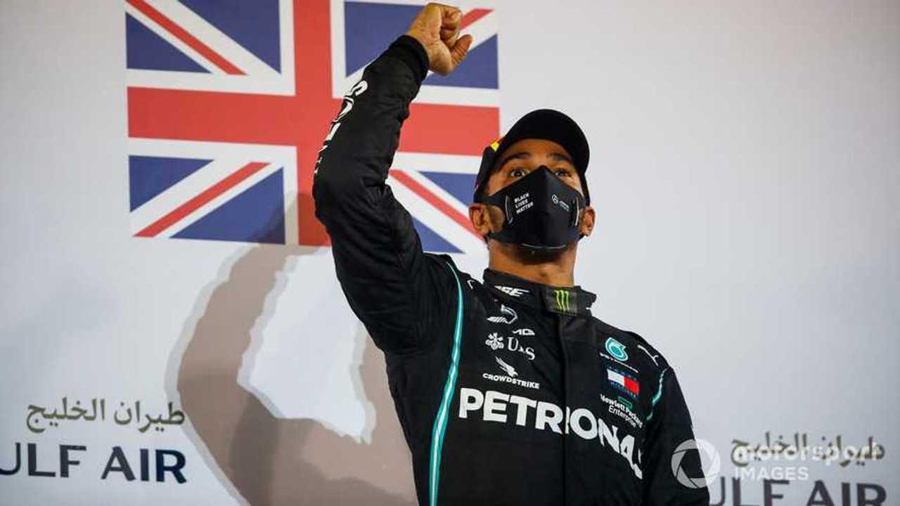Race winner Lewis Hamilton at Bahrain GP 2020