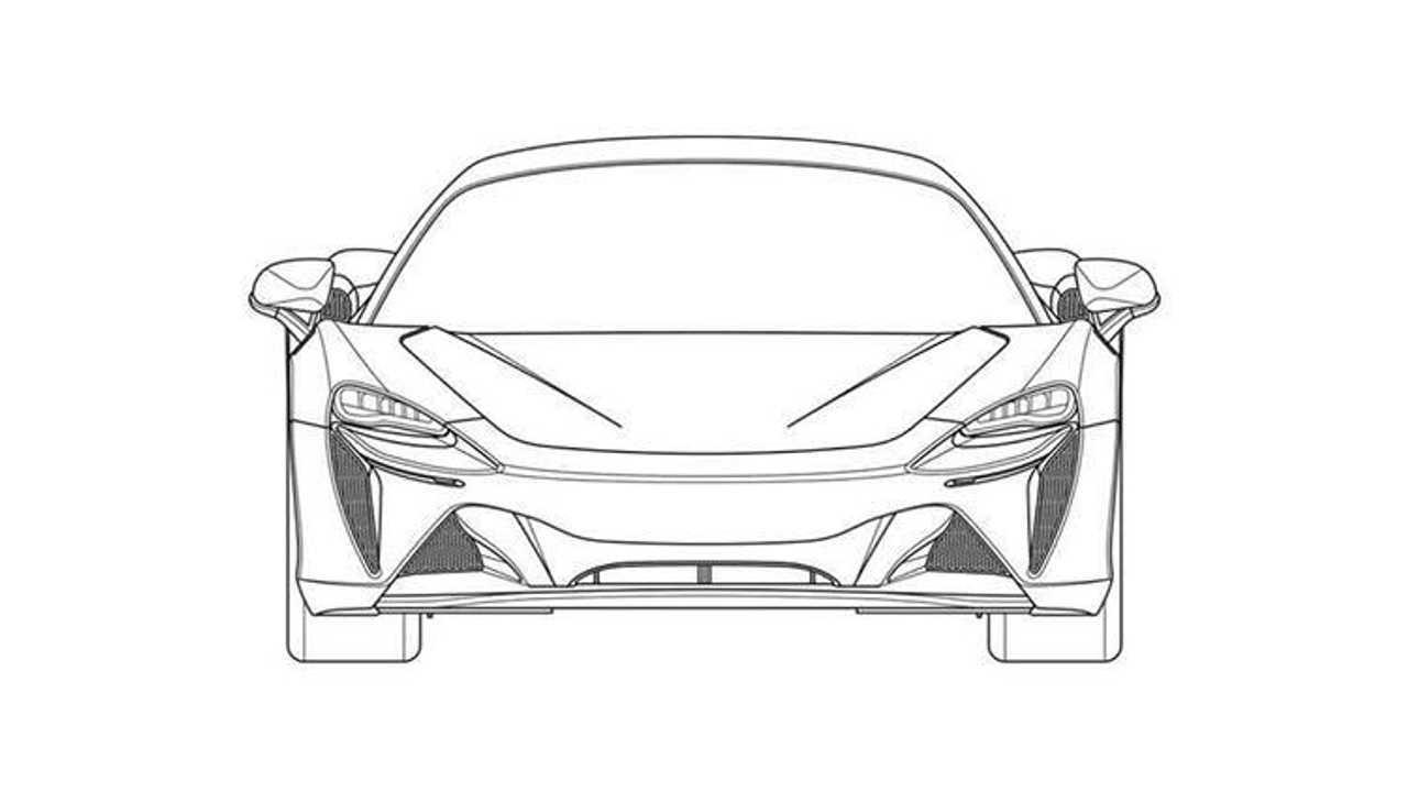 Патентные изображения McLaren High-Performance Hybrid с V6, вид спереди