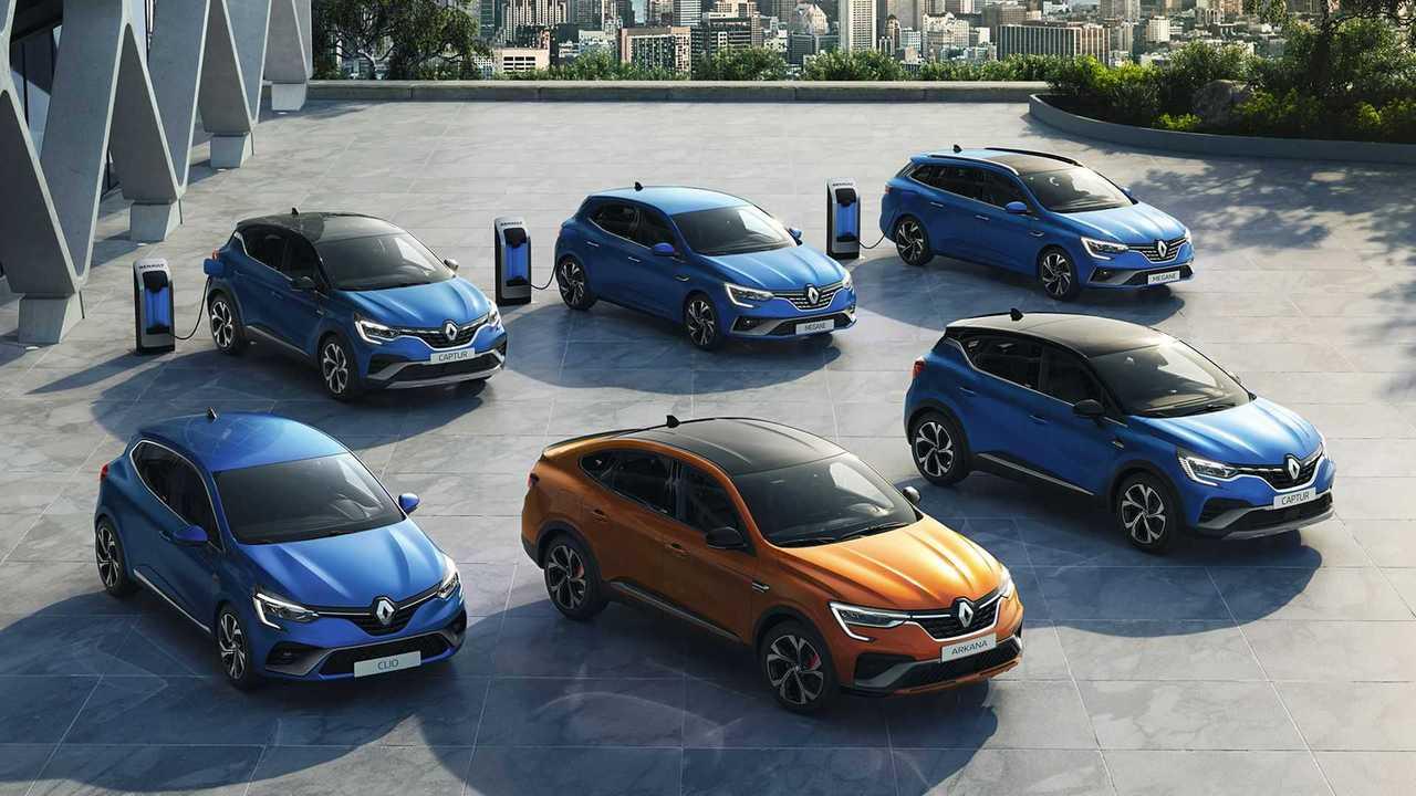 Renaults Elektro-Neuheiten: Auf diesem Bild sind hinten die Plug-in-Hybride und vorne die Vollhybride zu sehen.