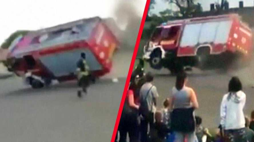 Fire Truck Tips Over When Coming In Too Hot During Demonstration