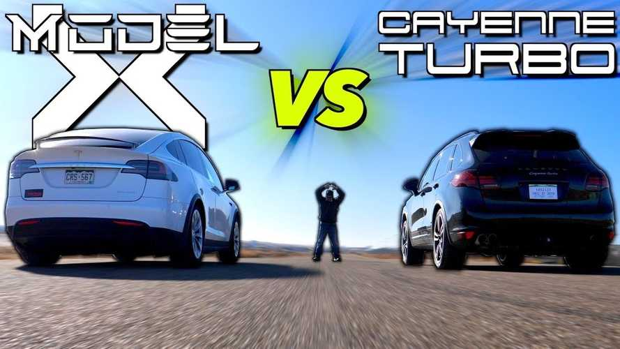 2012 Porsche Cayenne Turbo Drag Races 2019 Tesla Model X 100D