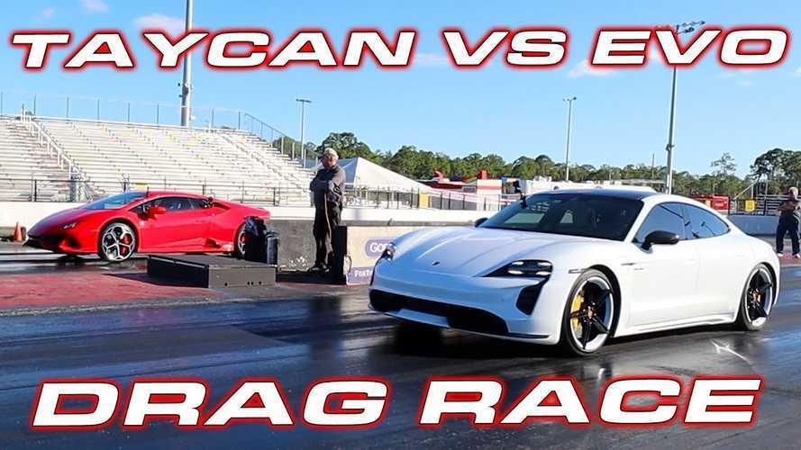 Porsche Taycan Turbo S Vs Lamborghini Huracan EVO: 1/4-Mile Drag Races