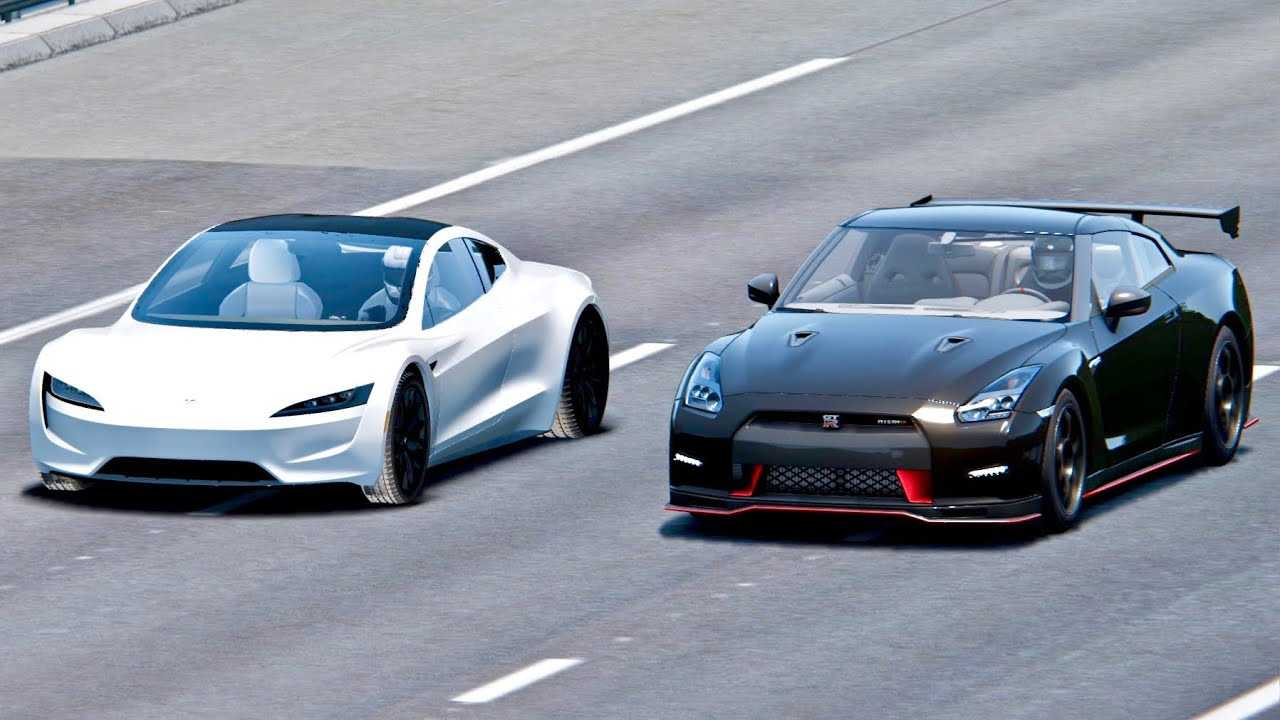 Watch Tesla Roadster Race Nissan GT-R Nismo: Simulated Video