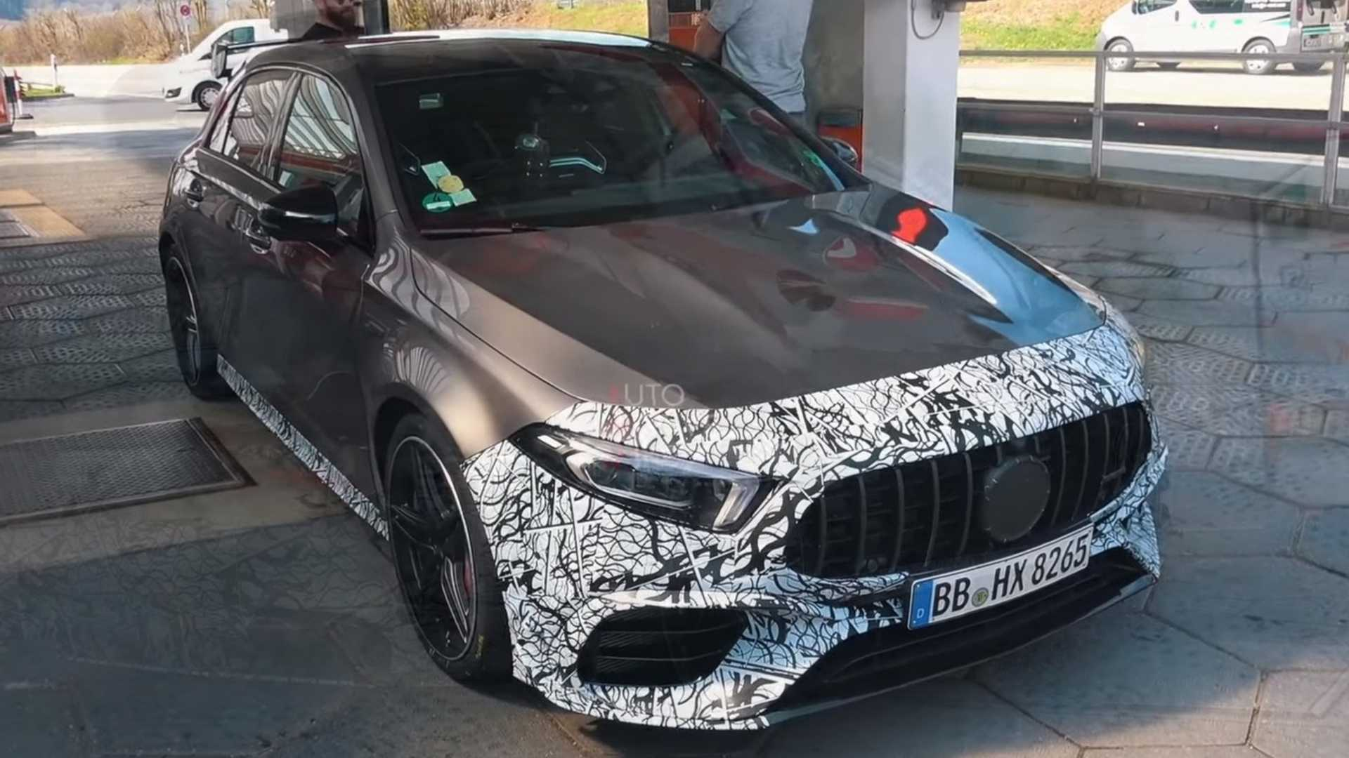 Mercedes Amg A45 Spied Up Close With Less Camo Than Ever
