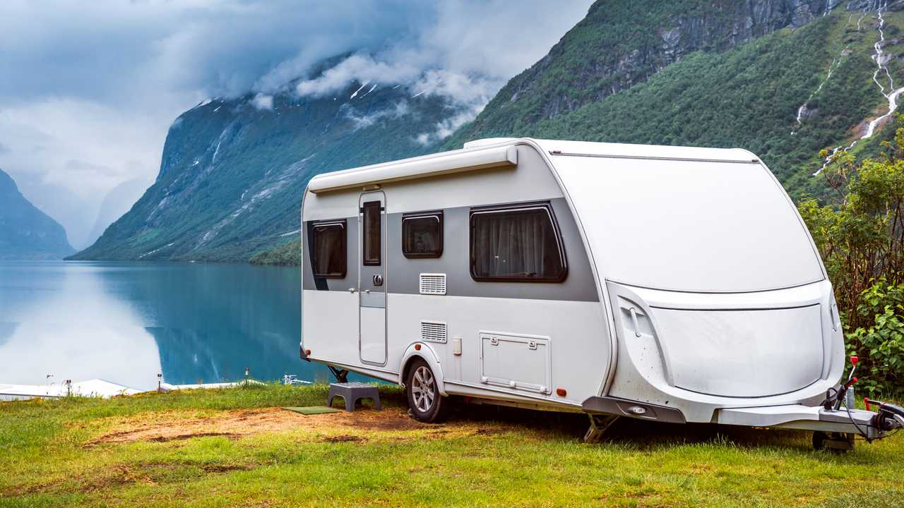 Caravan with beautiful landscape in Norway