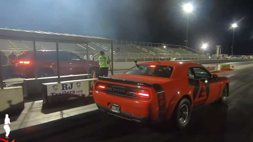 Dodge Demon Goes Against Jeep Trackhawk In Drag Race