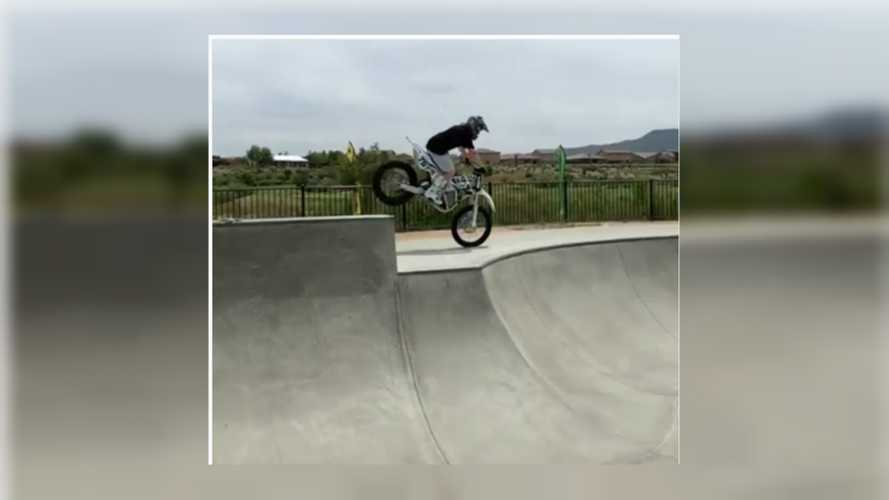 Josh Hill Blasts Around A Skate Park On An Electric Dirt Bike