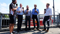 (L to R)- Ted Kravitz, Sky Sports Pitlane Reporter with Martin Brundle, Sky Sports Commentator; Johnny Herbert, Sky Sports F1 Presenter; Damon Hill, Sky Sports Presenter; and Simon Lazenby, Sky Sports F1 TV Presenter