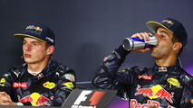Race winner Daniel Ricciardo, Red Bull Racing (Right) in the FIA Press Conference with team mate Max Verstappen, Red Bull Racing
