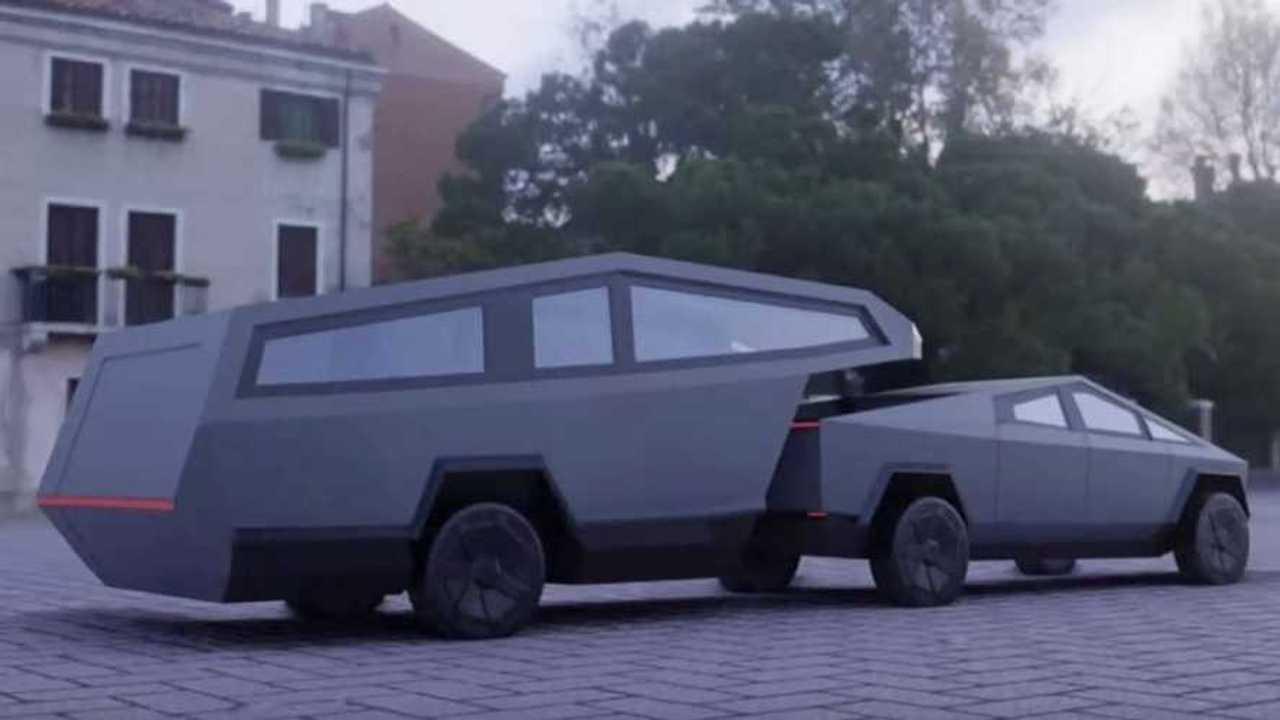 Tesla Cybertruck con roulotte a rimorchio