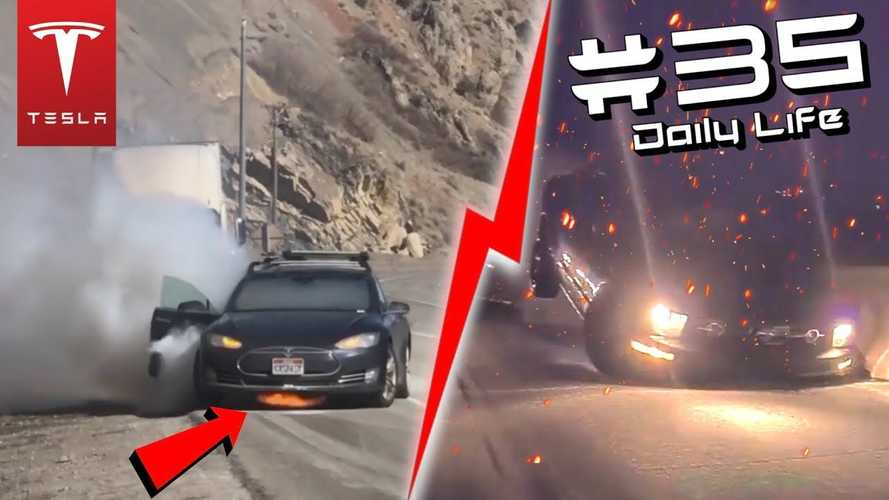 Tesla Model S Fire, Ford Mustangs Crashing, & Much More From TeslaCam