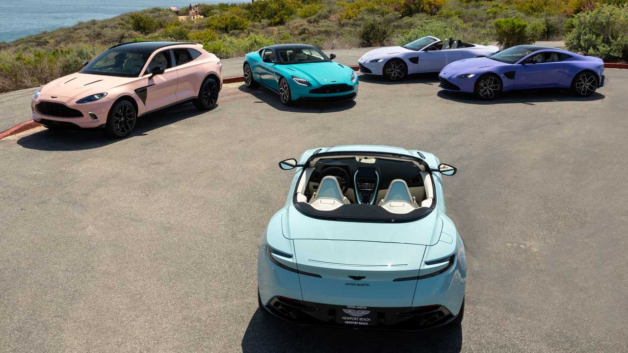 The Aston Martin Pastel Collection Posing Together