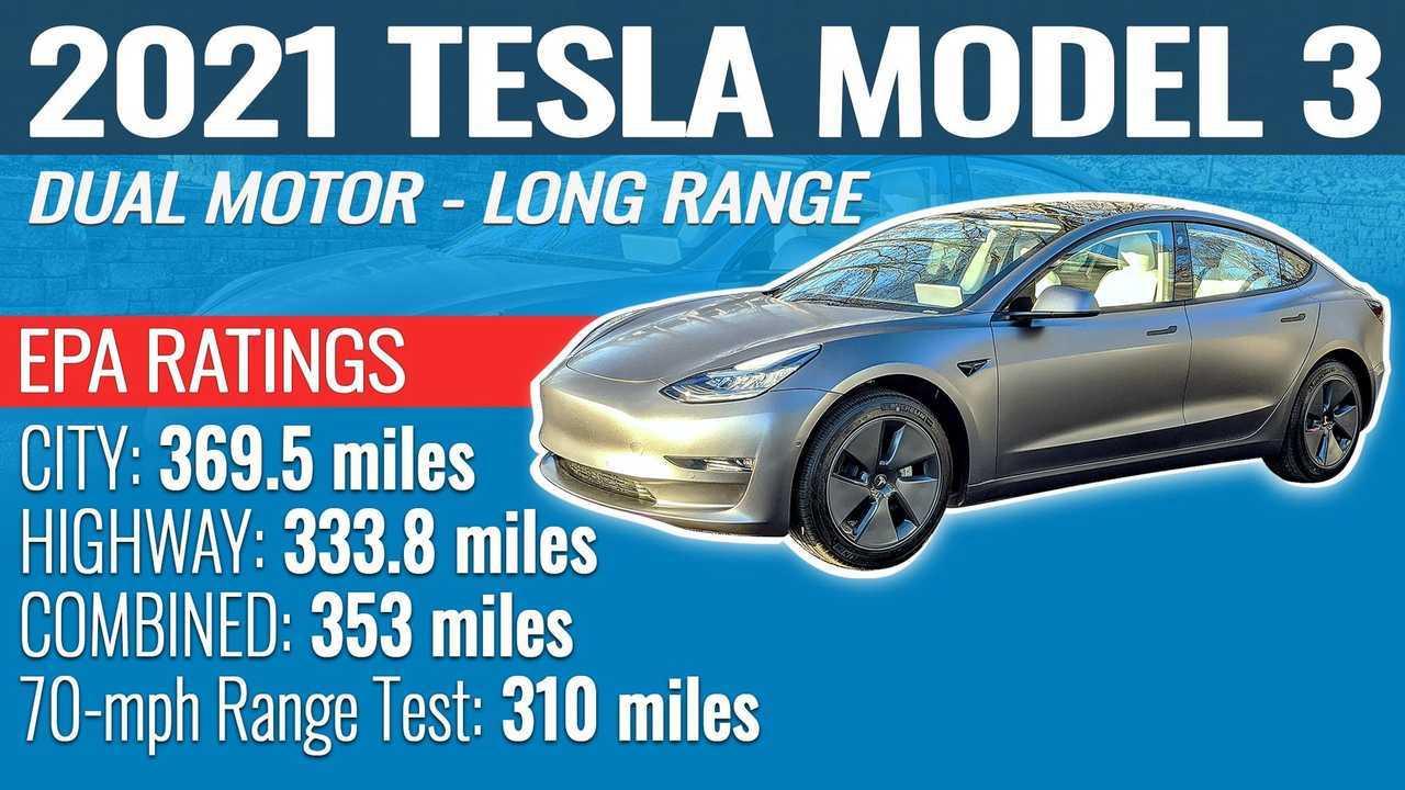 2021 Model 3 highway range test EPA ratings
