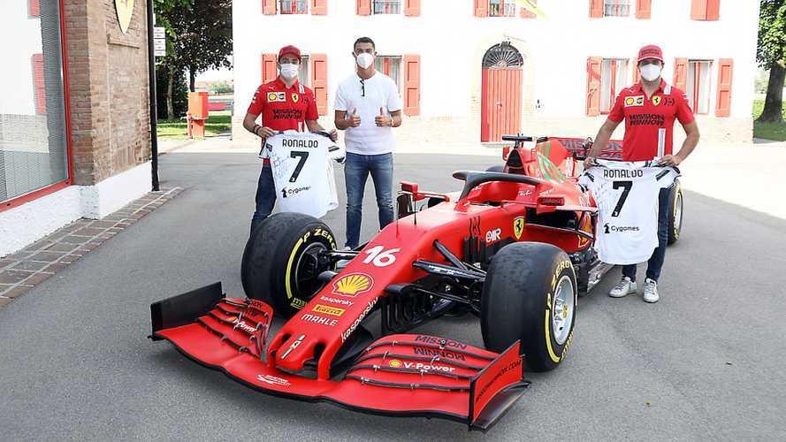 Ferrari: Cristiano Ronaldo a Maranello con Leclerc e Sainz