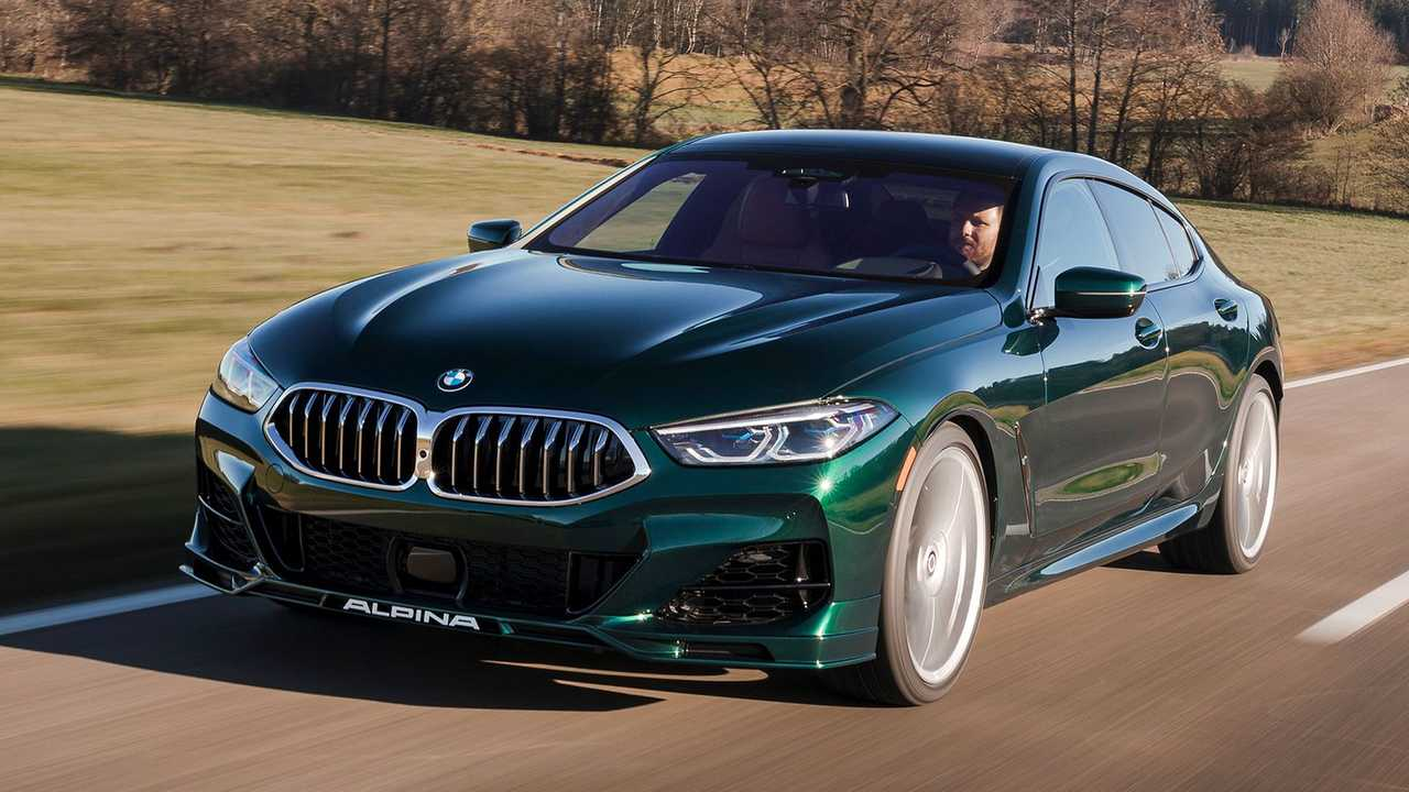 The 2022 BMW Alpina B8 Gran Coupe parked in the countryside.