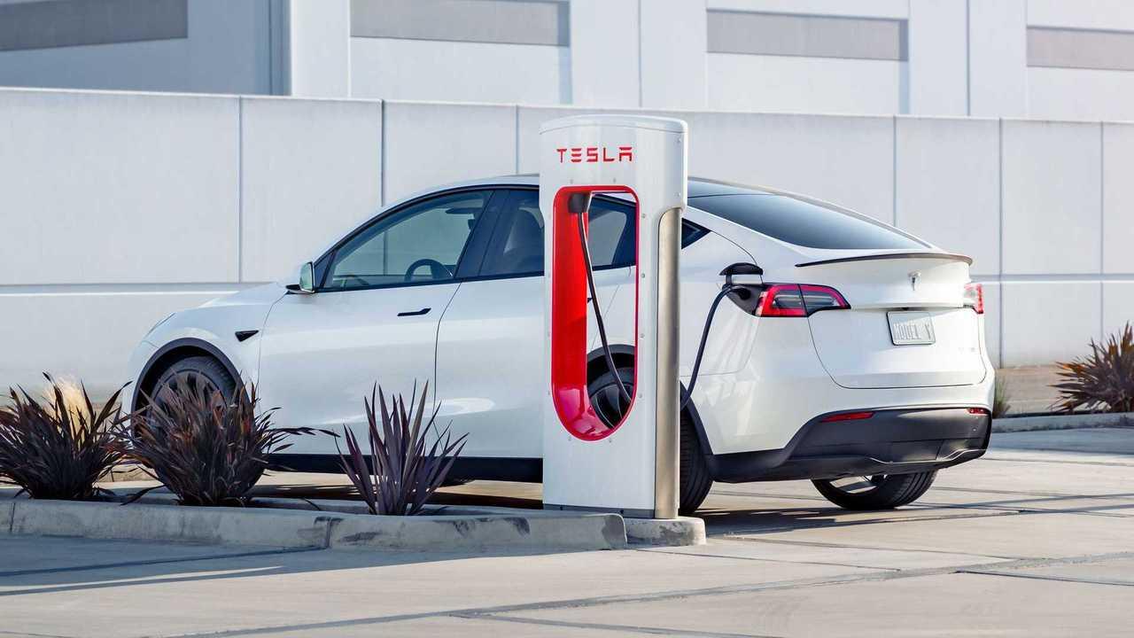 Tesla Model Y charging at a Tesla Supercharging station