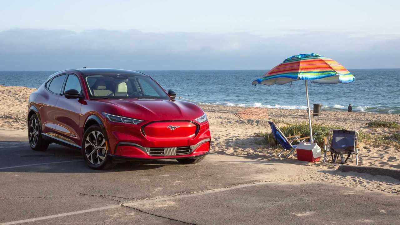 2021 Ford Mustang Mach-E Front Quarter Beach