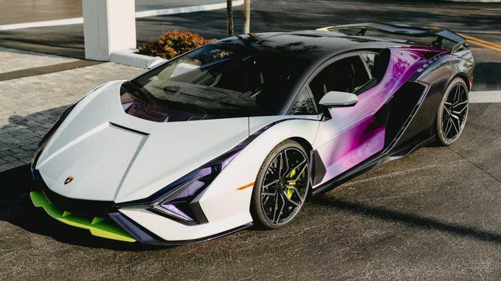 Lamborghini Sian In Purple, Green, And White Three Quarter Above Photo By Juan Pablo Saenz