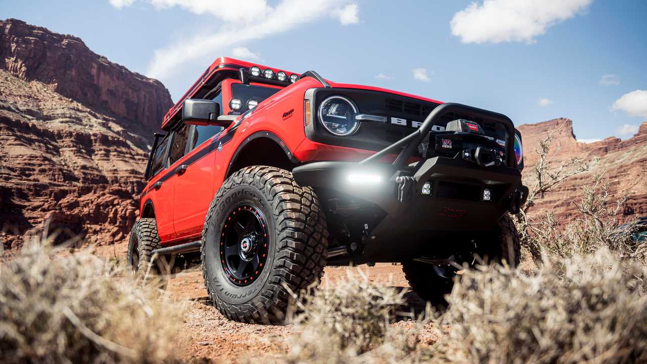 A 2021 Ford Bronco with numerous accessores at the Easter Safari in Moab.