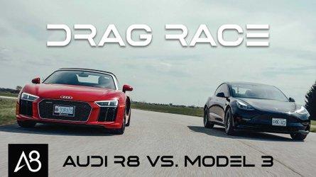 2021 Tesla Model 3 Performance drag races Audi R8 Spyder