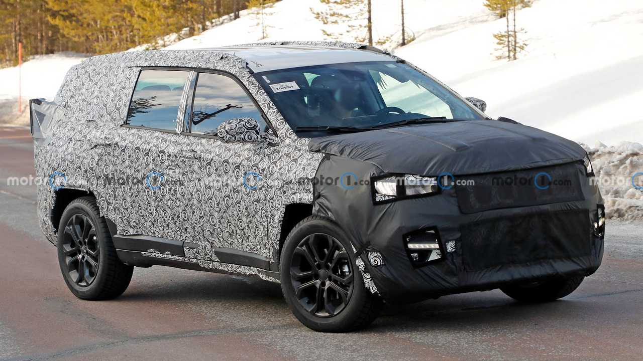 This is a prototype of a new seven-passenger Jeep SUV based on the Compass.