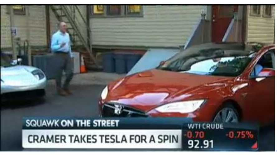 Video: CNBC's Jim Cramer Takes Tesla Model S on Wacky Test Drive; Says It's